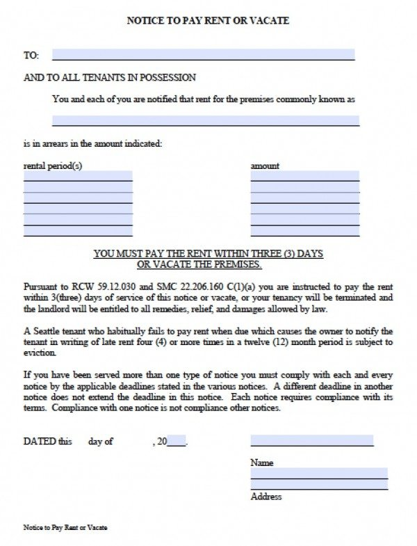 Notice To Vacate Commercial Property – Notice to Vacate Commercial Property