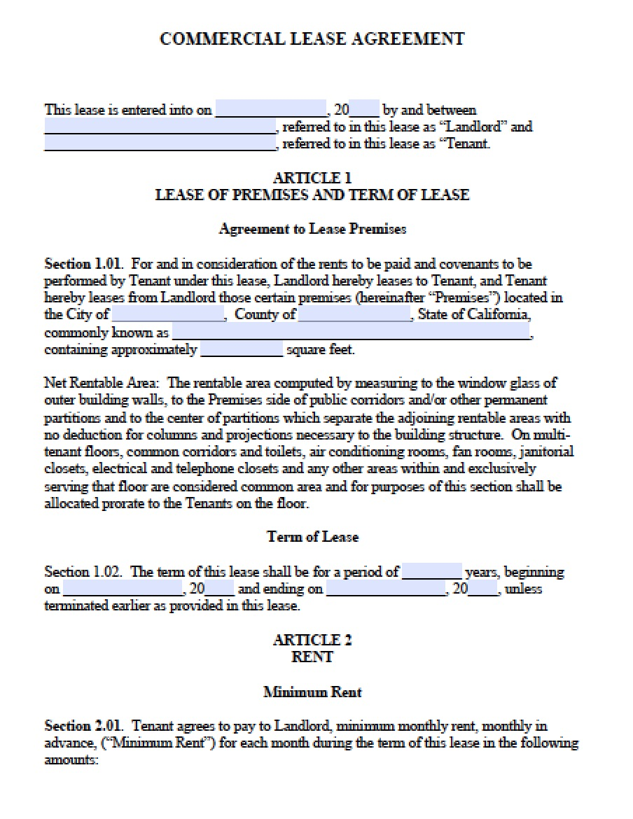 Free California Commercial Lease Agreement PDF – Commercial Lease Termination Agreement