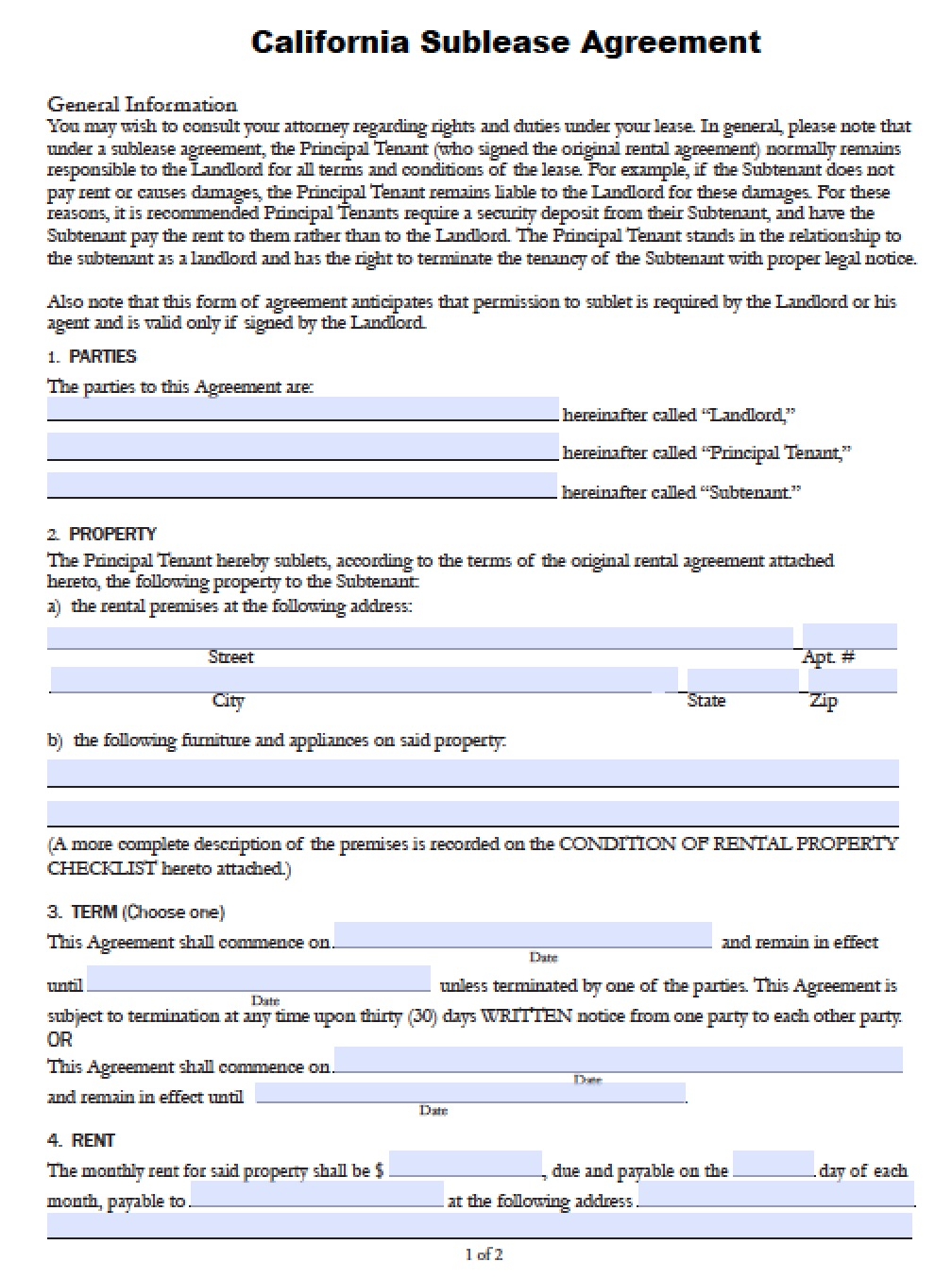 Free California SubLease Agreement PDF – Sublet Contract Template