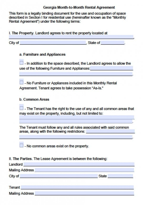 Free Georgia Month To Month Lease Agreement PDF