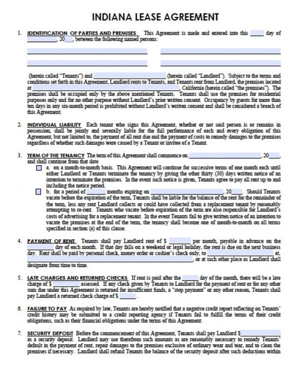 Free Indiana Residential Lease Agreement PDF