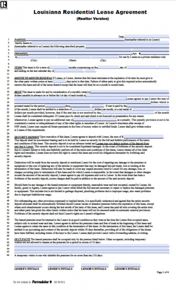 Free Louisiana 1 Year Residential Lease Agreement
