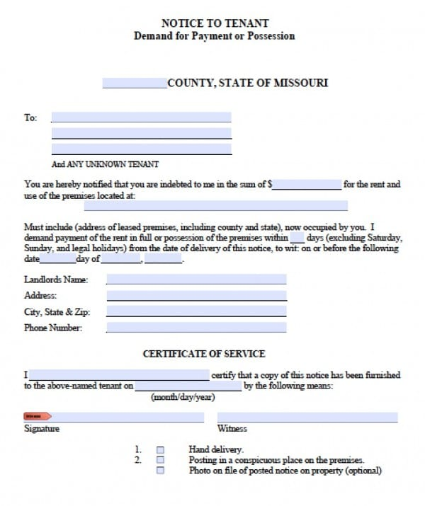 Free Missouri Notice to Quit | Eviction Notice for Non-Payment | PDF ...