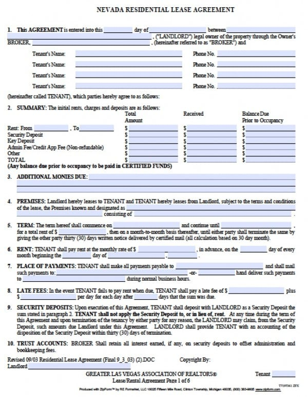 blank rental agreement