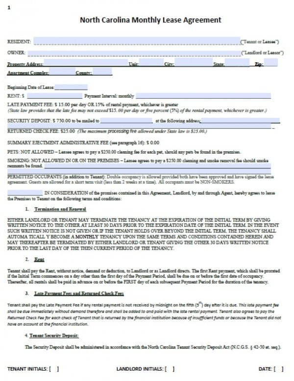 Free North Carolina Month To Month Lease Agreement Pdf