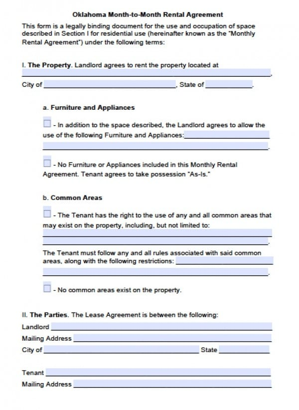 Free Oklahoma Month To Month Lease Agreement Pdf Word
