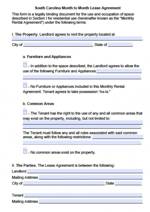 Month To Month Rental Agreement Template