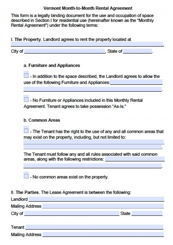 Free Vermont Month To Month Lease Agreement PDF