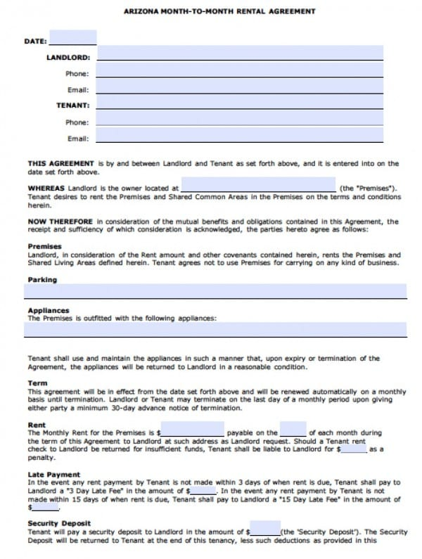 Free Arizona MonthToMonth Rental Agreement    Word Doc