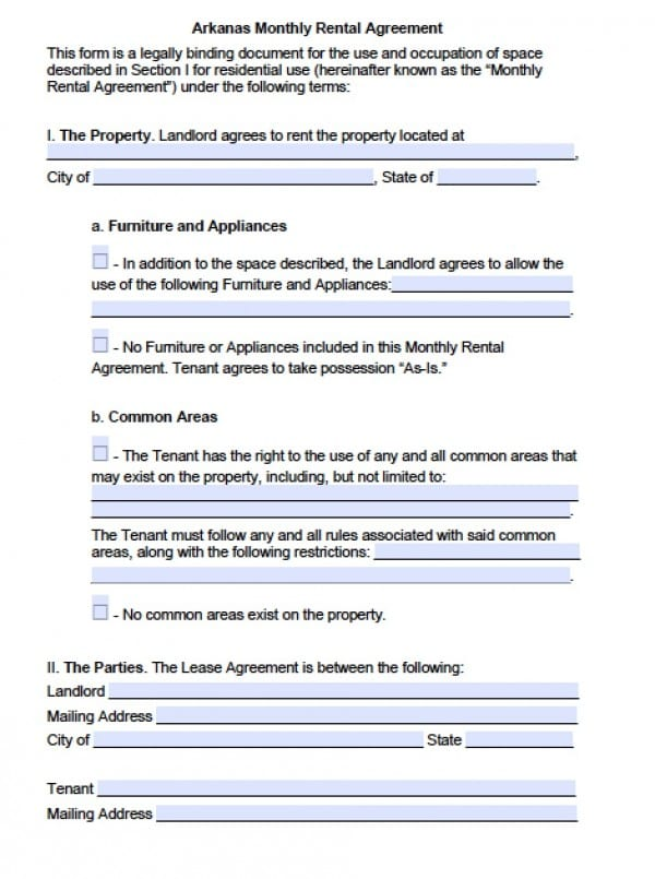 Arkansas Monthly Rental Agreement