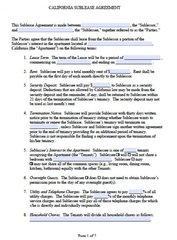 California Sublease Agreement Version #1 | Adobe PDF | Microsoft Word