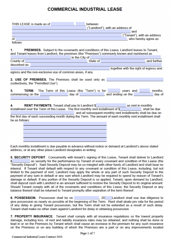 Commercial Industrial Lease Agreement (Adobe PDF)