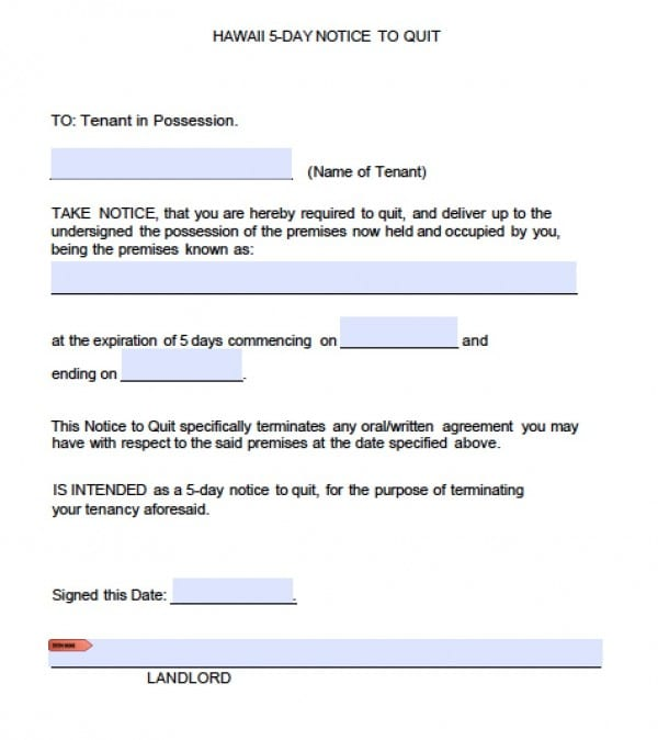 Free Hawaii Five 5 Day Notice to Quit Eviction Form – Tenant Eviction Notice Template