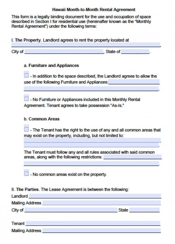 Free Hawaii MonthToMonth Lease Agreement  Pdf  Word Doc