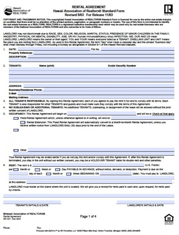 Free Hawaii Residential Lease Agreement    Word Doc