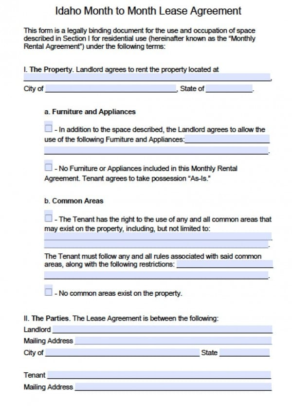 Idaho Month to Month Rental Agreement | PDF | Word