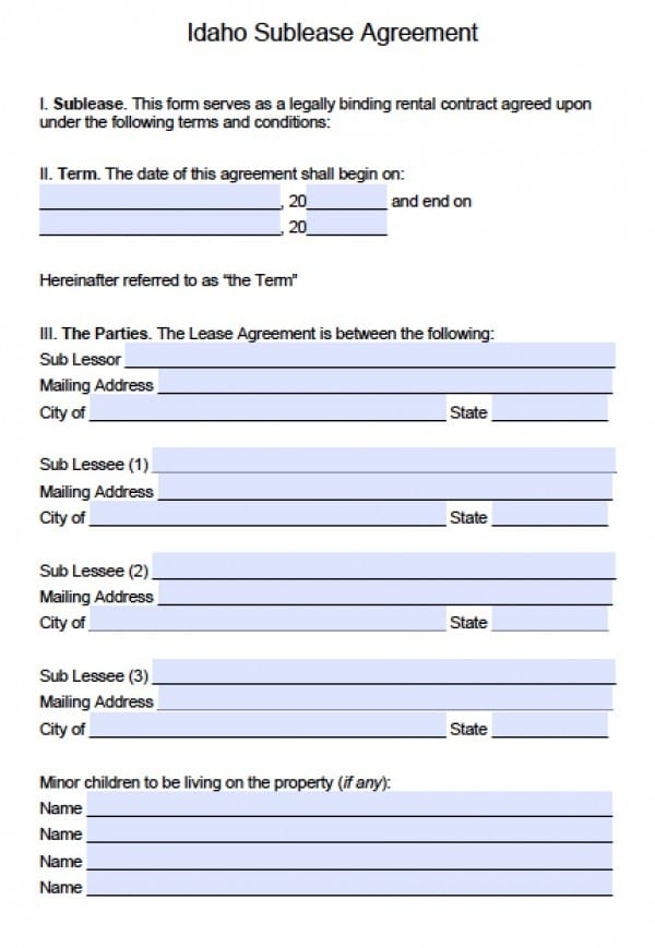 Idaho Sublease Agreement | PDF | Word