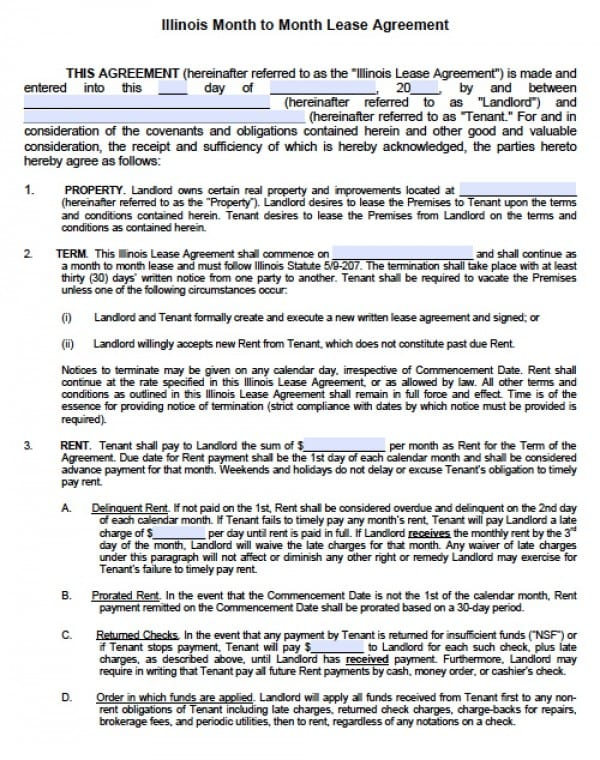 Free Illinois MonthToMonth Lease Agreement    Word Doc