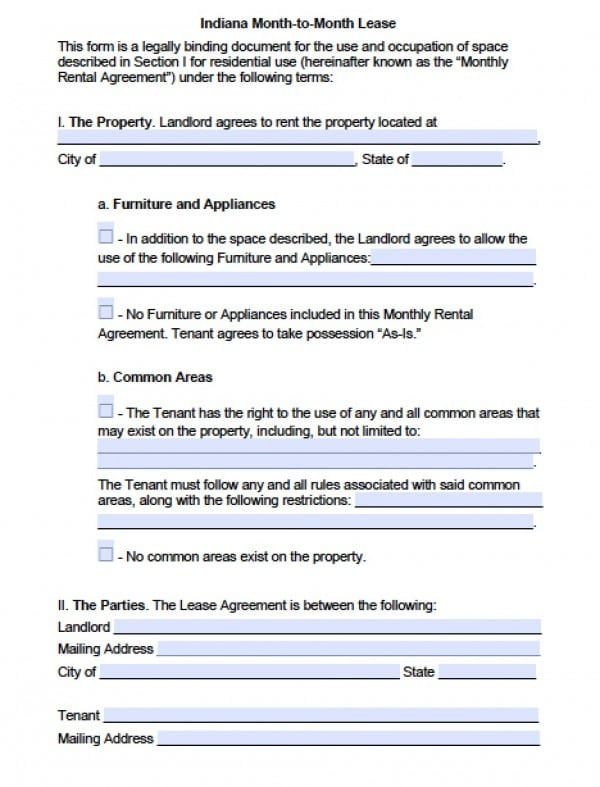 Free Indiana Month To Month Lease Agreement Pdf Word