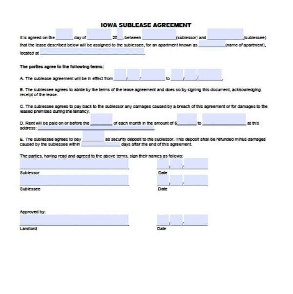 Free Iowa Sublease Agreement  Pdf  Word Doc