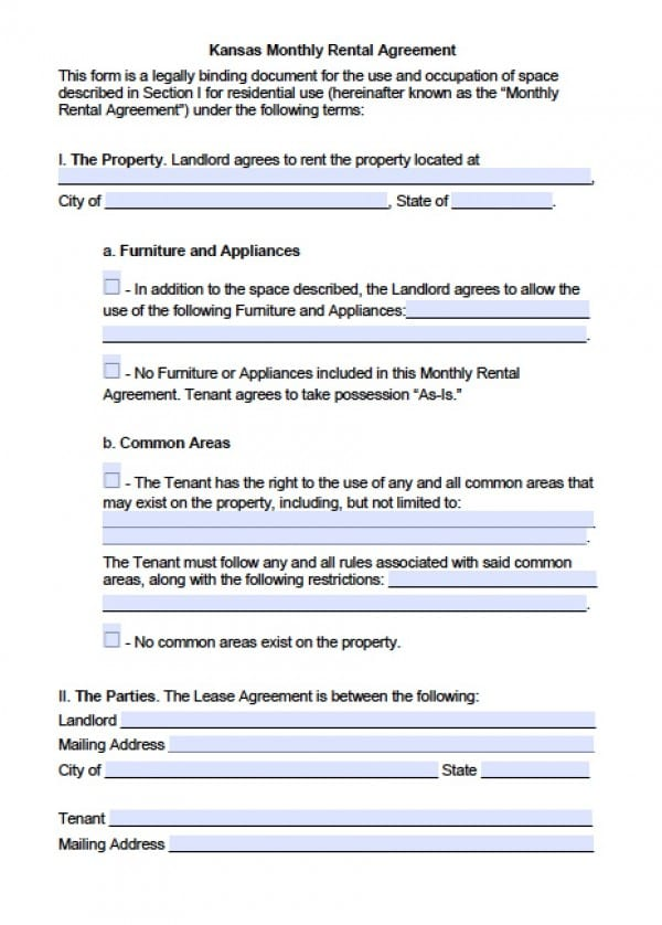Free Kansas Month To Month Lease Agreement    Word Doc
