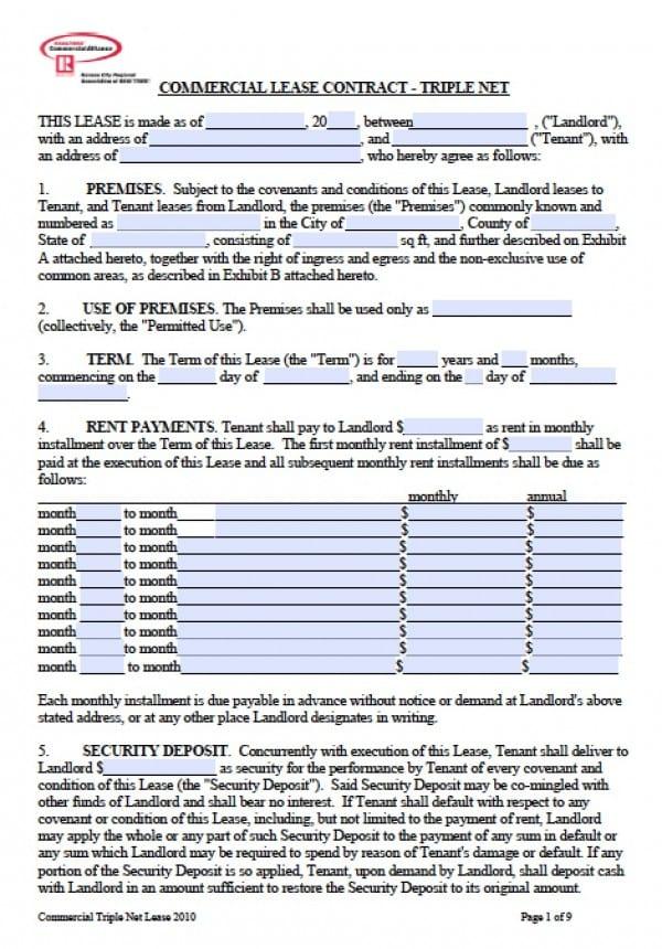 Triple Net (NNN) Lease | Adobe PDF | Word