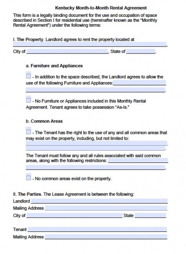 Free Kentucky Month-To-Month Lease Agreement | Pdf | Word (.Doc)