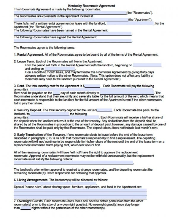 Free Kentucky Sub Lease Agreement PDF