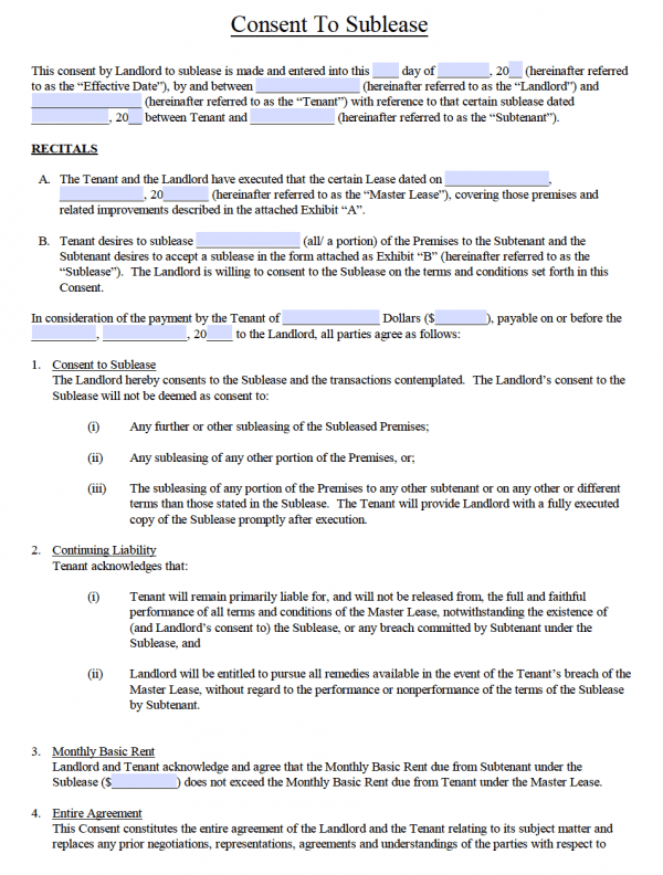 Free SubLease Agreement Templates PDF Word - Sublease agreement template word