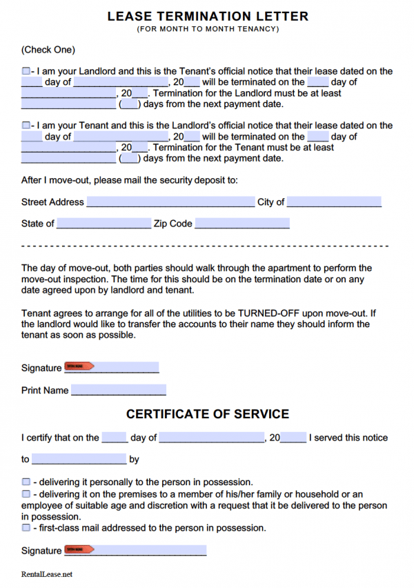 Lease Termination Letter for Month to Month Tenancy (Adobe PDF - Microsoft Word (.doc))