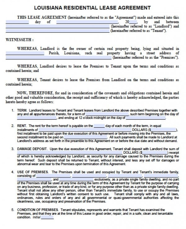 Free Louisiana  Year Residential Lease Agreement  Standard