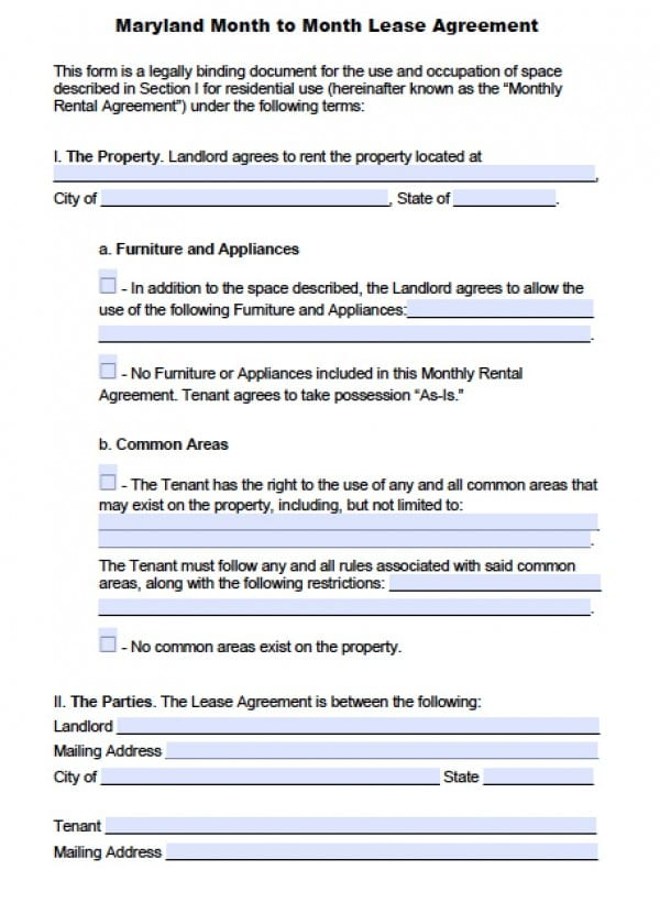 Free Maryland Month To Month Lease Agreement PDF