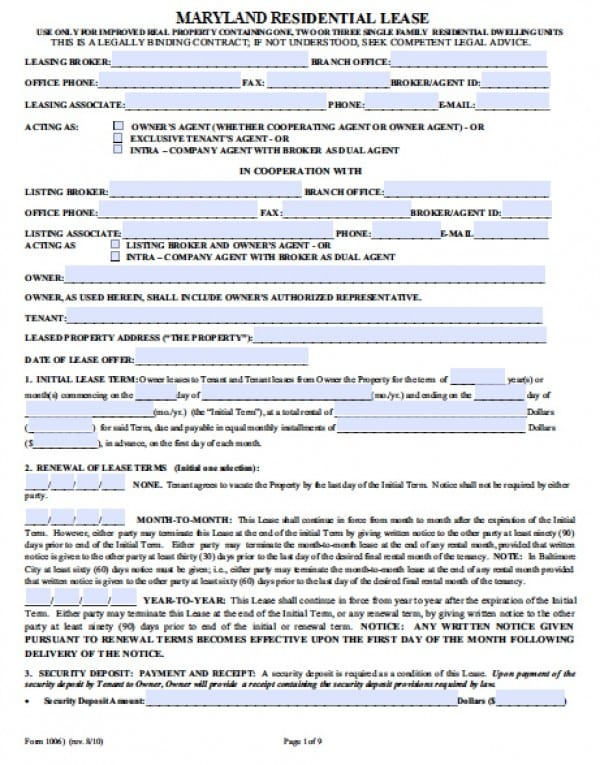 Free Maryland Residential Lease Agreement PDF