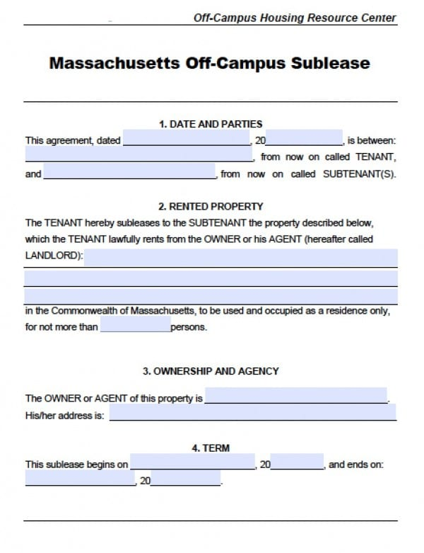 Free Massachusetts Sublease Agreements  Pdf  Word Doc