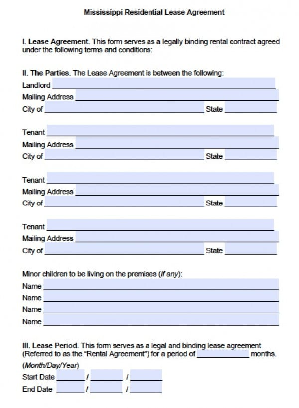 Free Mississippi Residential Lease Agreement  Pdf  Word Doc