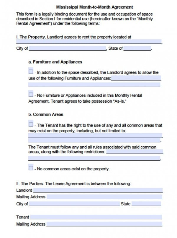 Free Mississippi MonthToMonth Lease Agreement    Word Doc