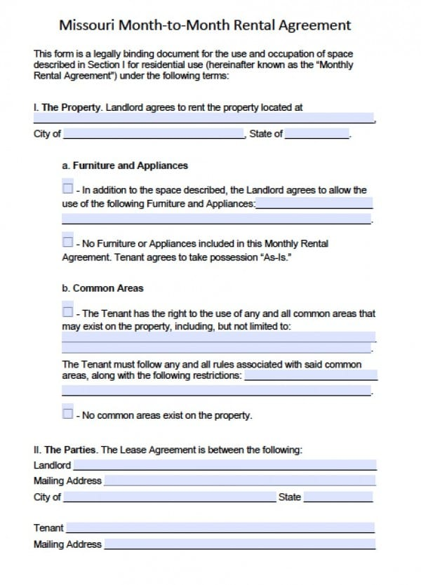 Free Missouri MonthtoMonth Lease Agreement PDF – Rental Lease Agreement Word Document