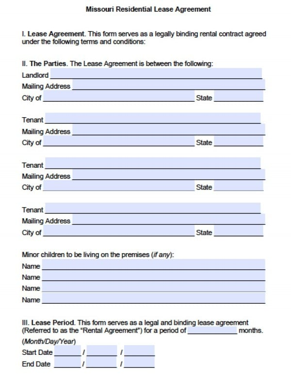 Free Missouri Residential Lease Agreement PDF