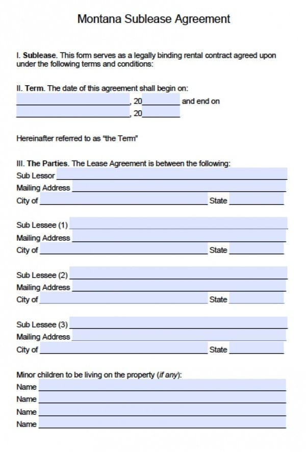 Montana SubLease Agreement | PDF | Word