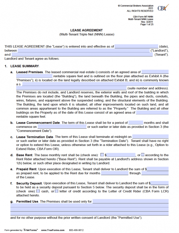Free Fillable Rental Lease Agreements – Free Lease Agreement Template Word