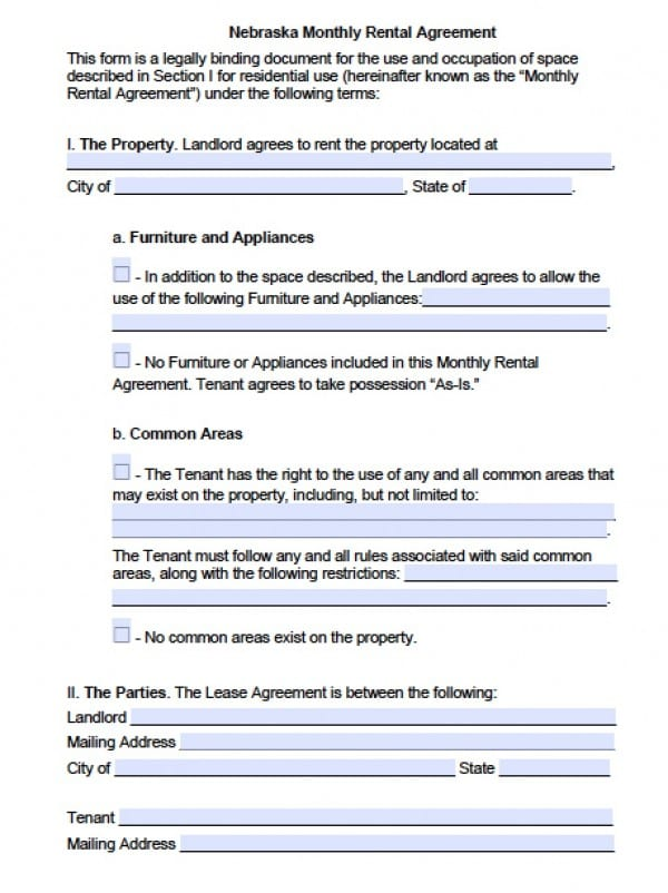 Free Nebraska Month-To-Month Lease Agreement | Pdf | Word (.Doc)