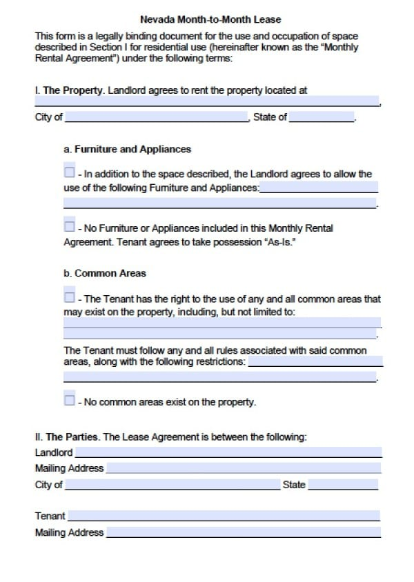 Free Nevada MonthToMonth Lease Agreement  Pdf  Word Doc