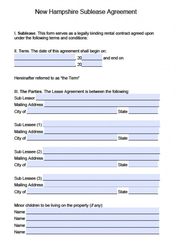 Free New Hampshire SubLease Agreement PDF – Sublease Contract Template