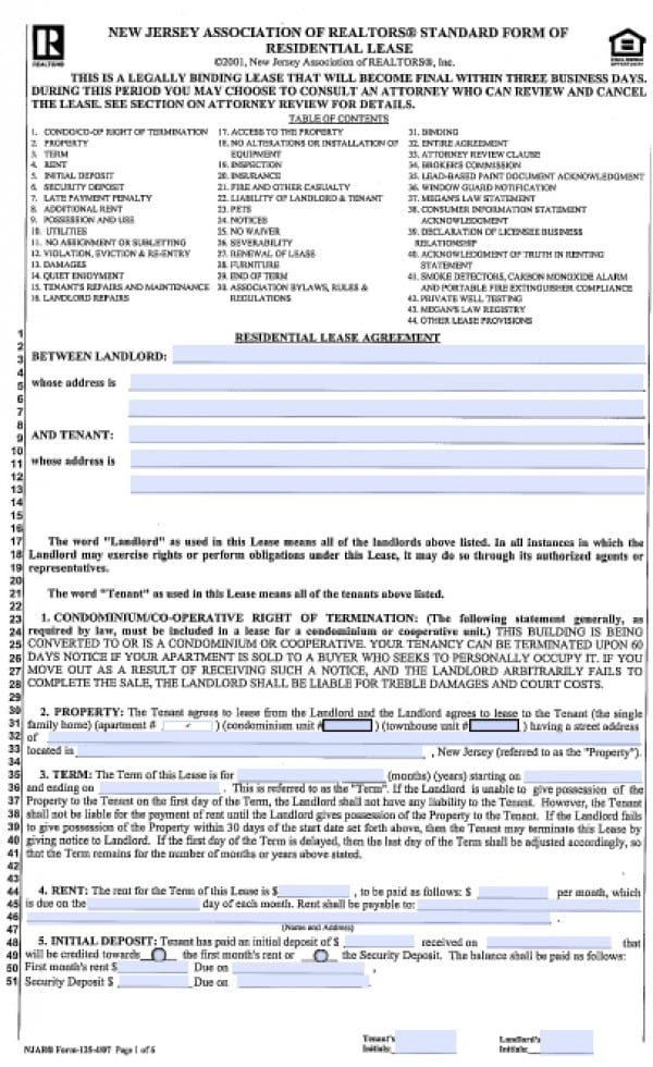Free New Jersey Standard Residential Lease Agreement  Year