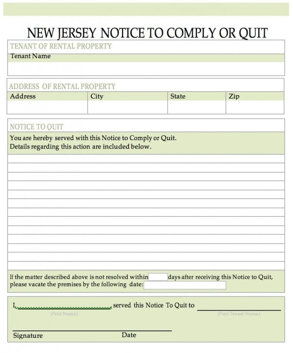 Free New Jersey Notice To Quit Notice To Cease