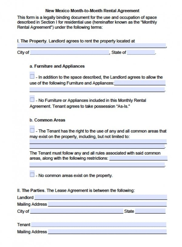 New Mexico Month to Month Lease Agreement | PDF | Word