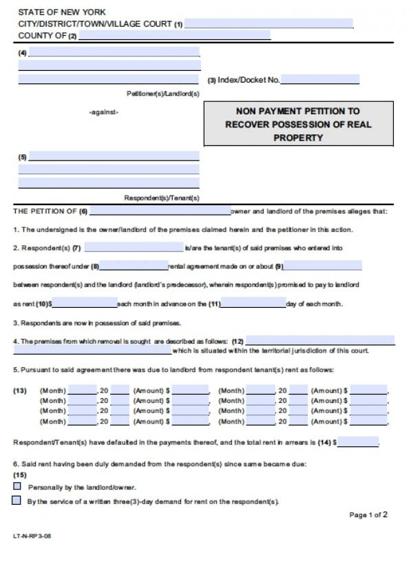 Free New York Nonpayment Of Rent Eviction Form Petition