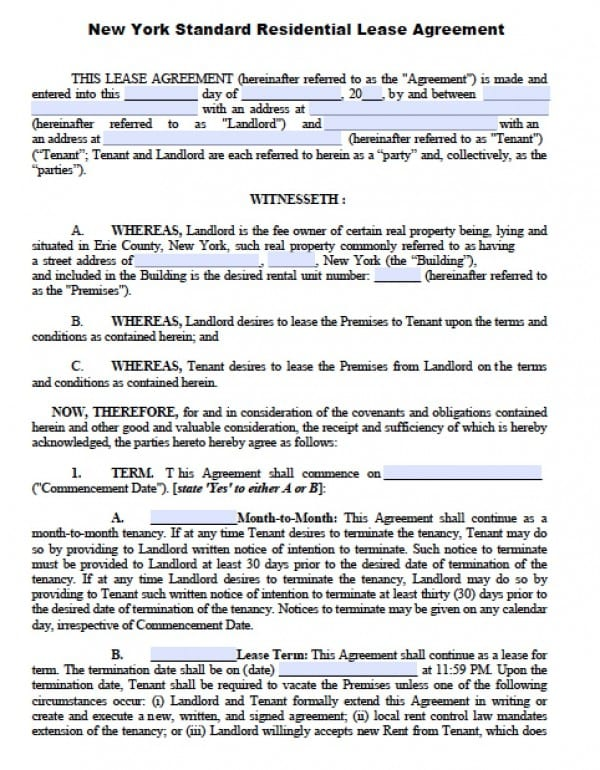 Free New York Residential Lease Agreement PDF – Residential Lease