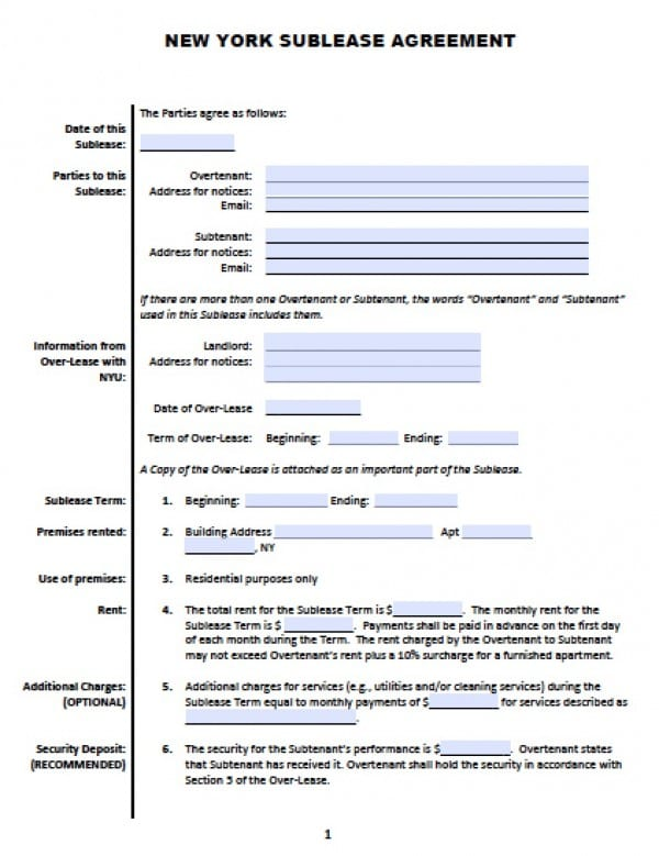 Free New York SubLease  Roommate Agreement    Word Doc