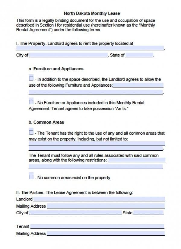 Free North Dakota MonthtoMonth Lease Agreement PDF – Rental Agreements Month to Month